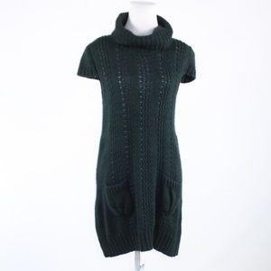 Chiara Mente dark green stretch sweater dress M